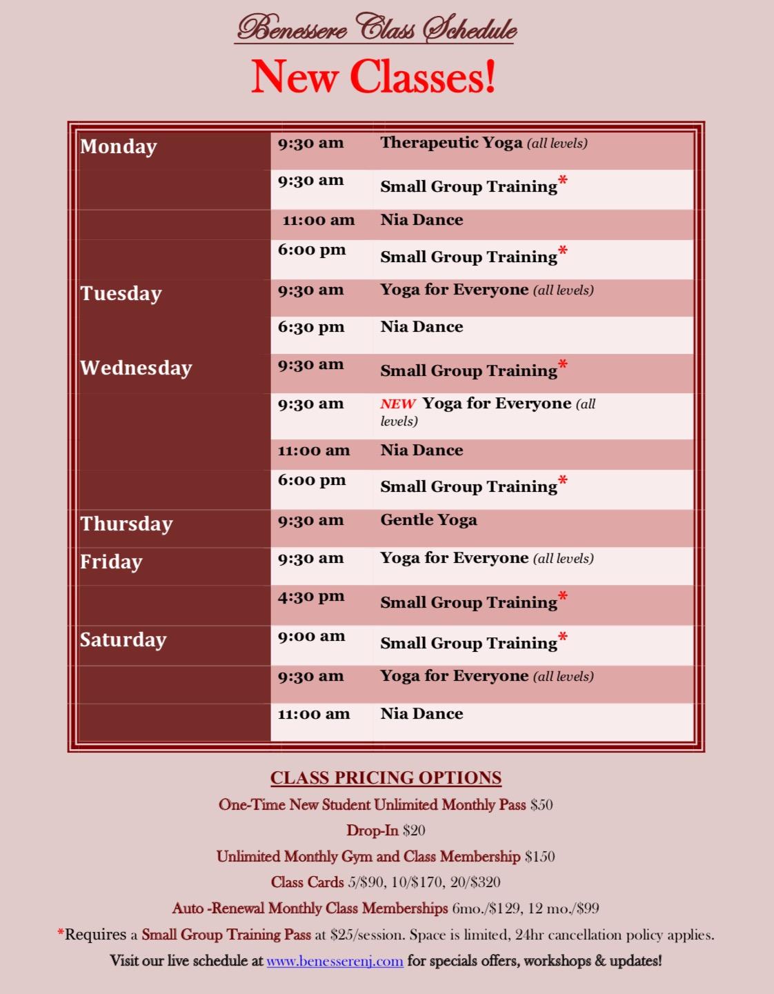 class schedule sept 2017
